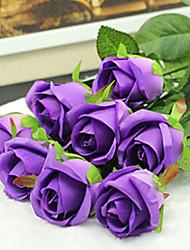 abordables -2 Une succursale Soie Roses Fleur de Table Fleurs artificielles