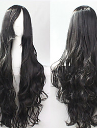 cheap -Synthetic Wig Curly Asymmetrical Haircut Synthetic Hair Natural Hairline Black Wig Women's Long Capless