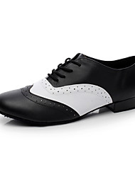 "cheap -Men's Swing Shoes Ballroom Leather Heel Flat Heel Black and White Under 1"" Non Customizable"