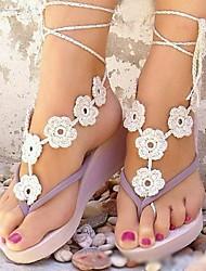 baratos -Metal Sandálias descalças Mulheres Casamento Férias Preto Branco Marrom