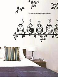 gufi e ramo di autoadesivo parete della stanza / soggiorno / camera da letto per bambini