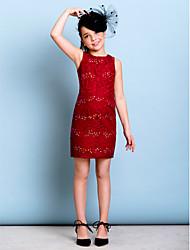 cheap -Sheath / Column Jewel Neck Short / Mini Lace Junior Bridesmaid Dress with Beading Sequins by LAN TING BRIDE®