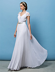 A-Line V-neck Floor Length Chiffon Wedding Dress with Beading Sash / Ribbon Bow Button Draped by LAN TING BRIDE®