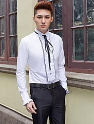 tuxedo / camicia bianca solida del cotone / poliestere lungo del manicotto del collare per i vestiti
