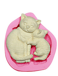 cheap -Cat Mother & Kitten Silicone Mould Cake Decorating Silicone Mold For Fondant Candy Crafts Jewelry PMC Resin Clay
