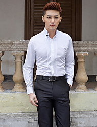 Button Down Collar Long Sleeve Cotton/Polyester Solid White Shirt for Suits