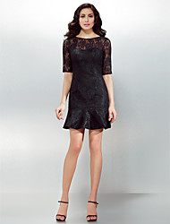 cheap -Sheath / Column Illusion Neck Short / Mini Lace Little Black Dress Cocktail Party Dress with Lace / Pleats by TS Couture® / Illusion Sleeve