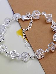cheap -925 Silver Cube Zircon Charm Bracelet (1PC) Christmas Gifts