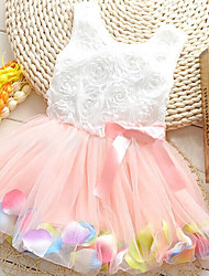 Girl's Princess Pearl Petals Gauze Sleeveless Bowknot Small Dress