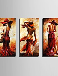 cheap -E-HOME® Stretched Canvas Art Woman Figure Decoration Painting  Set of 3