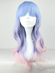 cheap -Synthetic Wig Curly Layered Haircut Synthetic Hair Natural Hairline Blue Wig Women's Long Cosplay Wig Capless Party Evening / Daily