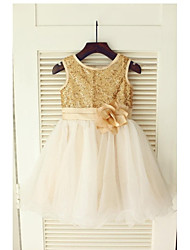 A-Line Tea Length Flower Girl Dress - Tulle Sequined Sleeveless Jewel Neck with Flower(s) Sash / Ribbon Pleats by LAN TING BRIDE®