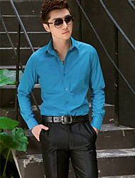 camicia blu classica / semi-diffusa lunga del manicotto del cotone / poliestere lungo per i vestiti