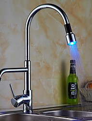 Contemporary Single Handle LED Pull-out Kitchen Faucet