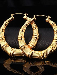 U7®18K Real Gold Platinum Plated Big Bamboo Hoop Earrings for Women Fashion Jewelry