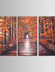 iarts pintura a óleo paisagem moderna árvores vermelhas conjunto de arte de parede de 3 pintados à mão lona, com quadro esticado