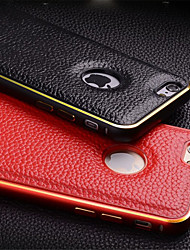 cheap -Metal Border+Genuine Leather Back Case for iPhone 6(Assorted Colors)