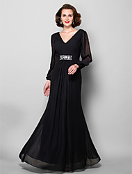 cheap -A-Line V-neck Floor Length Chiffon Mother of the Bride Dress with Beading by LAN TING BRIDE®