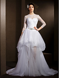 A-Line Illusion Neckline Court Train Lace Tulle Wedding Dress with Crystal Sash / Ribbon Pick-Up by LAN TING BRIDE®