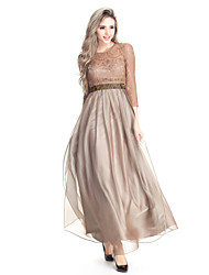 cheap -A-Line Jewel Neck Floor Length Chiffon Lace Formal Evening Dress with Beading Lace Sash / Ribbon by TS Couture®