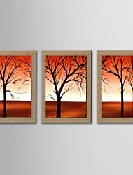 pintura a óleo moderna set paisagem abstrata de 3 pintados à mão de linho natural, com quadro esticado