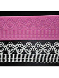 cheap -FOUR-C Sugar Craft Tools Silicone Cake Mat Sweet Lace Mould for Baking,Silicone Mat Fondant Cake Tools Color Pink