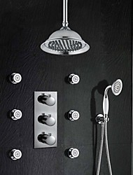 Antique Montage mural Thermostatique with  Soupape en laiton 3 trous Trois poignées trois trous for  Chrome , Robinet de douche