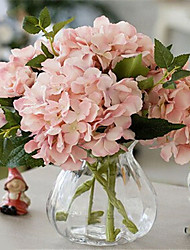 baratos -cinco carne rosada hygrangeas artifical flores com vaso