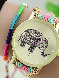 cheap -The New Women's Original Ethnic Woven Korean Version Exquisite Handmade DIY Elephant  Bracelet Watch Cool Watches Unique Watches Fashion Watch