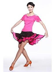 abordables -Danse latine Tenue Femme Entraînement Mousseline de soie Fibre de Lait Manches courtes Taille moyenne