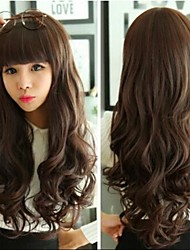 Angelaicos Womens Modern Design Bangs Curly Wavy Glamour Natural Looking Daily Wear Sexy Wigs Long Brown Black Blonde