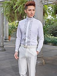 camicia bianca dei modelli del cotone / poliestere lungo del manicotto del mandarino per i vestiti