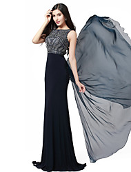 cheap -Formal Evening Dress - Beautiful Back Trumpet / Mermaid Jewel Floor-length Chiffon / Spandex / Knitwear with Appliques / Beading