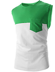 preiswerte -Vintage/Informell/Party/Business Ärmellos - MEN - T-Shirts ( Baumwolle/Kunstseide )