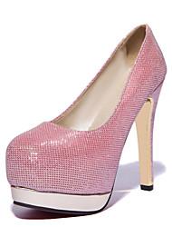 baratos -Feminino Sapatos Courino Primavera Verão Outono Salto Agulha Com Para Social Preto Branco Rosa Prateado Dourado