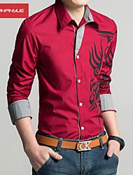economico -MANWAN WALK®Men's Casual Slim Fit Dragon Print Shirt,Fashion Long Sleeve Shirt.