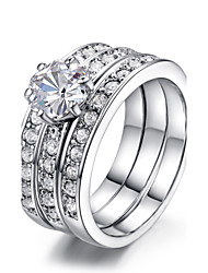 T&C Women's 3 in 1 18k White Gold Plated Classic Stack 3 Paved Bands Cz Stone Engagement Ring Set