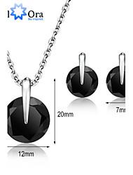 Classic Jewelry Set Vivid Black Cubic Zirconia Rhodium Plated Jewelry Sets for Women