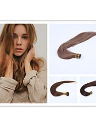 baratos -Queratina / Ponta I Extensões de cabelo humano Liso Cabelo Humano Ruivo Escuro Loiro Loiro claro