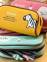 Cute Animal Paradise PU Leather Pencil Bag (Random Color)