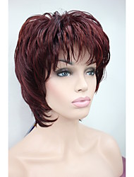 New  fluffy wave short women's wigs Red Mix synthetic hair full wig