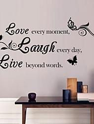preiswerte -Wandaufkleber Wandtattoo, Stil Liebe& Lachen& leben Englisch Wörter& zitiert PVC Wandaufkleber