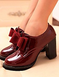 cheap -Women's Shoes Chunky Heel Heels/Round Toe Pumps/Heels Casual Black/Burgundy