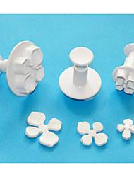 quatro c êmbolo hortênsia plástico cortador de ajuste 3, cortadores de fondant / sugarcraft / gumpaste / maçapão