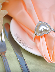 cheap -Wedding table setting --- Pearl Heart-shaped Napkin Buckle