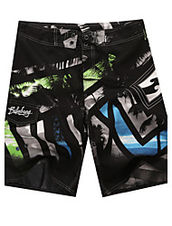 Men's Quick-Drying Breathable Bottoms Prints Beach/Swim Shorts Polyester Summer Black/White