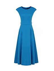 cheap -Women's Blue/Black Dress , Vintage/Casual Short Sleeve