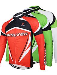 cheap -Arsuxeo Men's Long Sleeves Cycling Jersey - White Red Green Bike Jersey, Quick Dry, Anatomic Design, Breathable