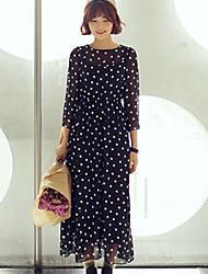 chiffon do vintage magros pontos de cintura vestido de manga 3/4 Shangya mulheres