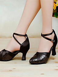 cheap -Women's Modern Satin Sandal Buckle Chunky Heel Black Red Silver Gold Purple Non Customizable